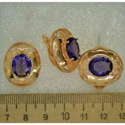 Серьги и кольцо овал крупный фиолетовый (3 пары) М496