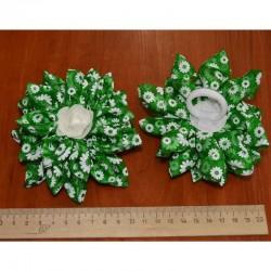Бант средний цветы зеленый 2 шт М10
