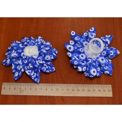Бант средний цветы синий 2 шт М12