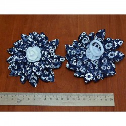 Бант средний цветы т синий 2 шт М13