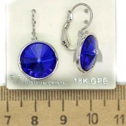 Серьги кристалл синий в оправе 12 мм М229