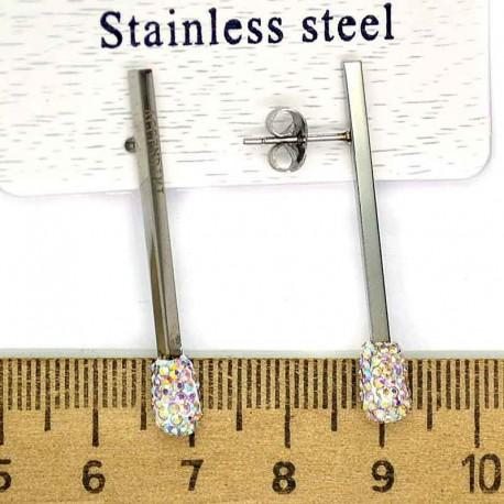 Серьги спички серебро шамбала белая М230