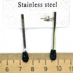 Серьги спички серебро шамбала черная М231