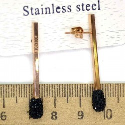Серьги спички золото шамбала черная М232
