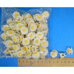 Крабик 1,5 см белый ромашка 3д М198