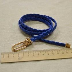 Ремень косичка синий М6