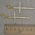 Серьги крест в золоте стразы 7 см М234