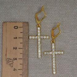 Серьги крест в золоте стразы 5 см М235