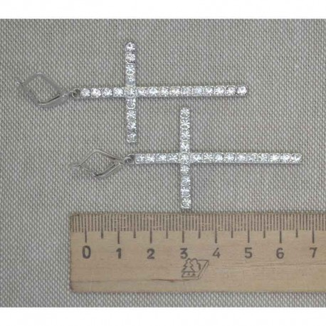 Серьги крест в серебре стразы М237