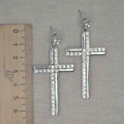 Серьги крест в серебре 2 дорожки стразы М238
