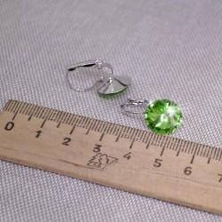 Серьги кристалл 1,2 см зеленый М240