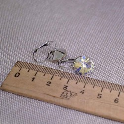 Серьги кристалл 1,2 см перламутр М241