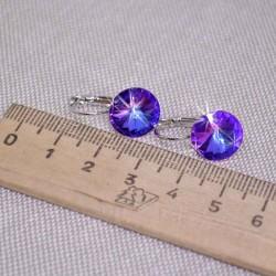 Серьги кристалл 1,2 см фиолетовый М242