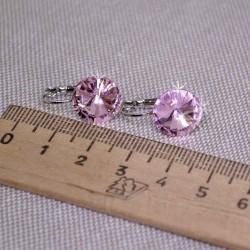 Серьги кристалл 1,2 см розовый М243