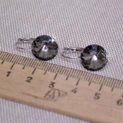 Серьги кристалл 1,2 см графитовый М244