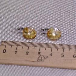 Серьги кристалл 1,2 см золотистый М245
