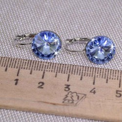 Серьги кристалл 1,2 см голубой М249