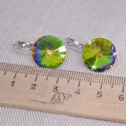 Серьги кристалл 1,6 см зеленый хамелеон М250