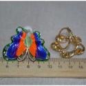 Брошь бабочка эмаль серебристая М433