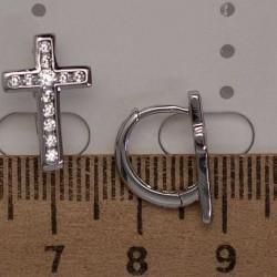 Серьги крестики циркон М5