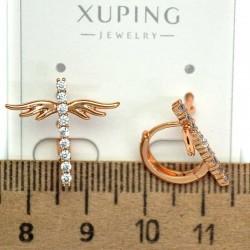 Серьги крестики крылышки циркон М6