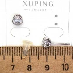 Серьги XG гвоздик в оправе циркон 6 мм родий М123