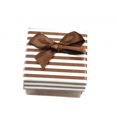 Коробочка для колец квадратная коричневая в полоску