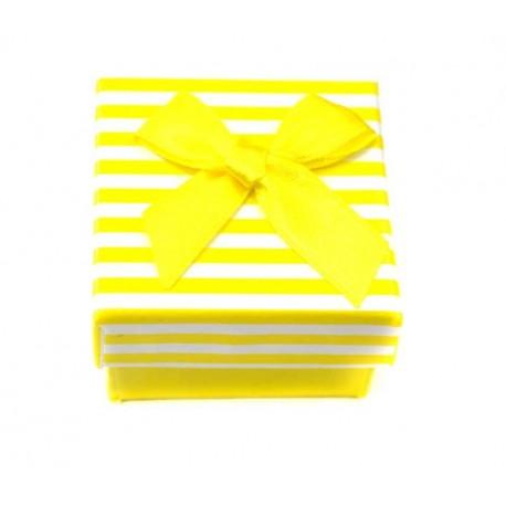 Коробочка для колец квадратная, желтая в полоску