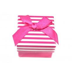 Коробочка для колец квадратная, розовая в полоску