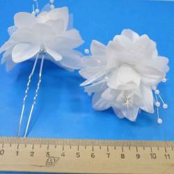 Шпилька для волос цветы (3 шт) белые