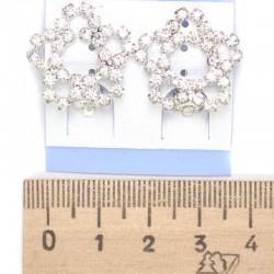Серьги клипсы цветок лед белые стразы