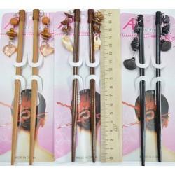 Палки для причёски (1 пара) цвет микс пампушками