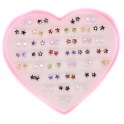 Серьги гвоздики с цирконом, (1 пара) звезда