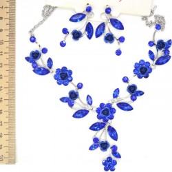 Колье+серьги листья и цветы цвет синий