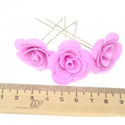 Шпилька для волос цветок (6 шт) розовая
