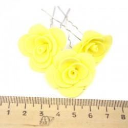 Шпилька для волос цветок (6 шт) желтая