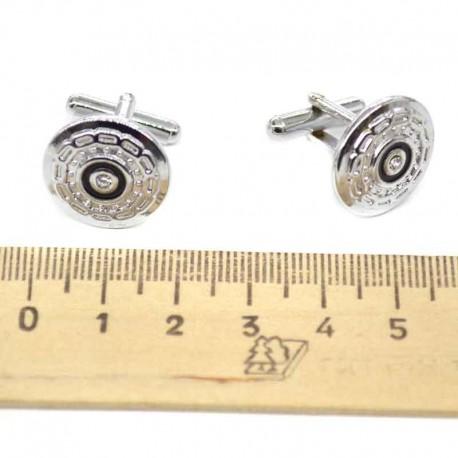 Запонки серебристые с эмалью 1
