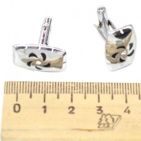 Запонки серебристые с эмалью 7