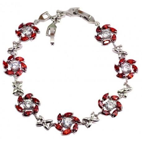 Браслет медицинский металл цветочек камень циркон красный