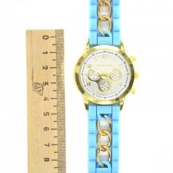 Часы голубой силиконовый ремень сц