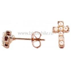 Серьги крестик жемчужный маленький(1 пара)