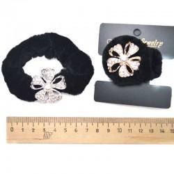 Резинка с цветком стразы жемчужинка микс (1 шт)
