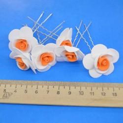 Шпилька для волос цветок (6 шт) бело-оранжевый