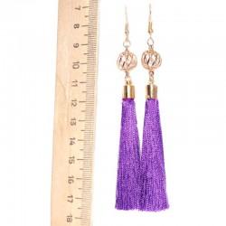 Серьги кисточки средние фиолетовые