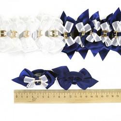 Резинка корейский бант микс сине-белый ( 2 шт)
