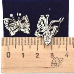 Серьги бабочка серебристая