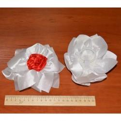 Бант средний с красной розой ( 2 шт)