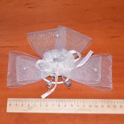 Бант-резинка с сеткой белый(1 шт)