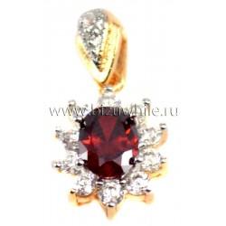 Кулон цветок медицинский металл красный камень