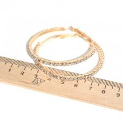 Серьги кольцо страз D 5 см золотистые